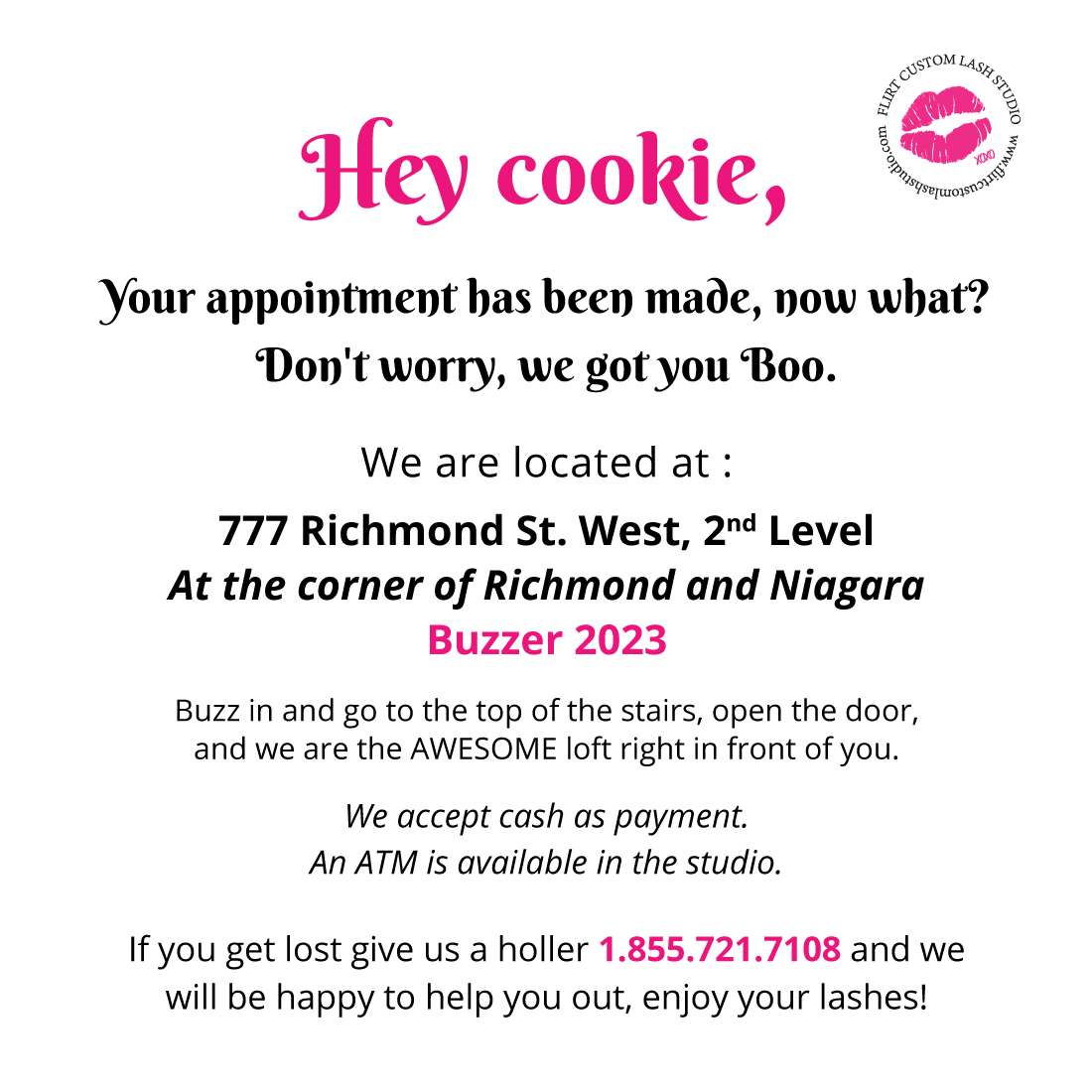 FCL Toronto eyelash extensions studio directions